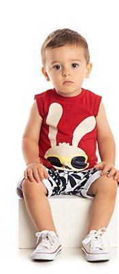 Conjunto Infantil Bebê Ollelê Little Menino Coelhinho Preto e Vermelho