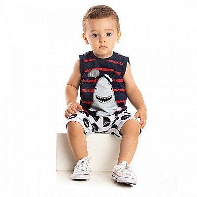 Conjunto Infantil Bebê Ollelê Little Menino Tubarão Marinho e Cinza