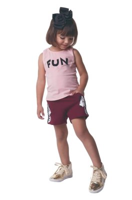 Conjunto Infantil Regata Cotton e Short Moletinho Menina Fun Soletex - Rosa