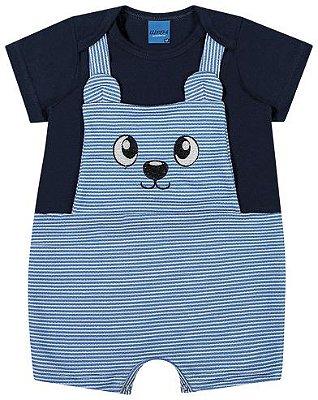 Macaquinho Infantil Bebê Meia Malha Penteada e Moletinho Azul - WRK