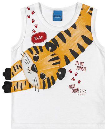 Camiseta Regata Infantil Bebê Tigre com Patinhas Interativas Branco - WRK