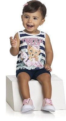Conjunto Feminino Infantil Bebê Meia Malha e Cotton Light Penteada - Kely Kety