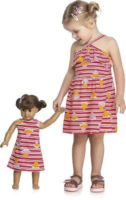 Vestido Infantil Meia Malha Estampada e Vestido de Boneca Azul Marinho e Rosa - Kely Kety