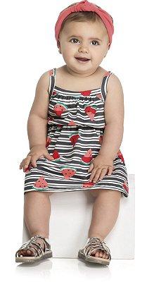 Vestido Infantil Meia Malha Penteada Estampado Melancia - Kely Kety