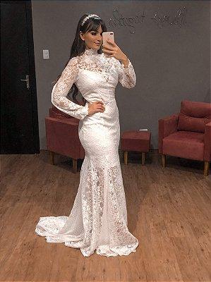 Vestido de Noiva Gola Alta