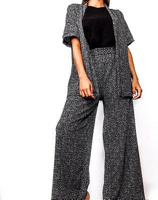 Calça Pantalona estampa de bolinhas com cós de elástico Kimie