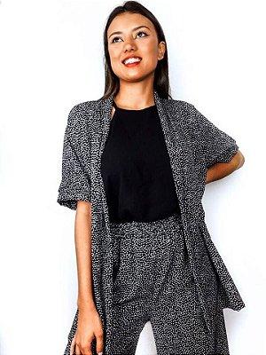 Kimono Kimie preto com bolinhas brancas