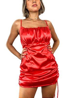 Vestido cetim regulável com busto franzido vermelho