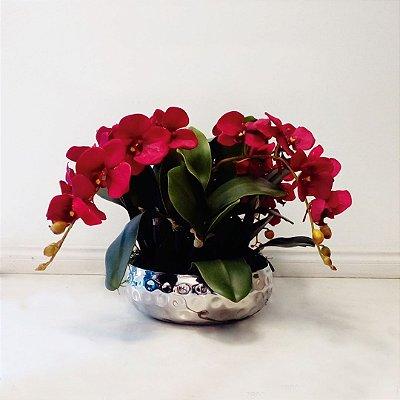 Arranjo de Flores Artificiais de Orquídeas com Cachepot