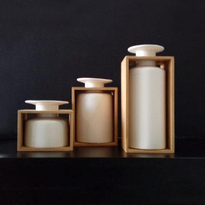 Conjunto Vasos de Cerâmica e Madeira