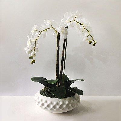 Arranjo de Flores Artificiais de Orquídeas com Vaso Branco