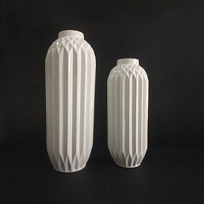 Conjunto Vasos Brancos Brilhante