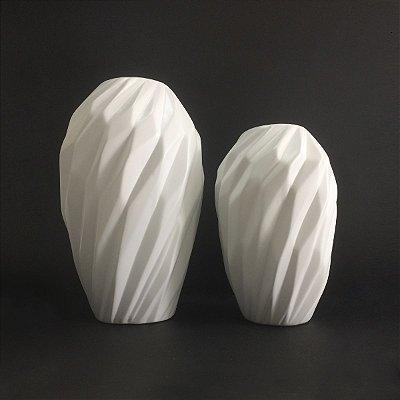 Conjunto Vasos Brancos Geométricos