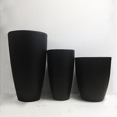 Conjunto de Vasos Preto de Fibra de Vidro