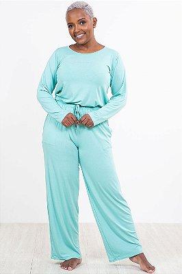 Pijama longo liso com bolso chopp