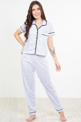 Pijama longo com abertura frontal