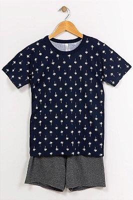 Pijama juvenil camiseta e bermuda malwee