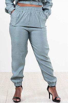 Calça viscose cós e barra com elástico