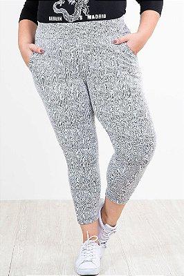 Calça legging jacquard com bolso plus size