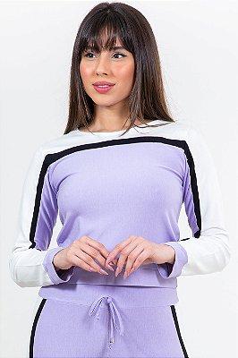 Blusão moletinho manga longa tricolor
