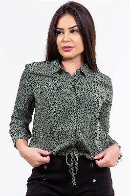 Camisa crepe manga longa com amarração