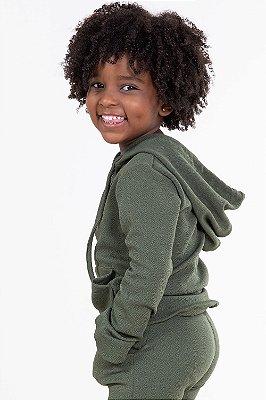 Blusão infantil manga longa com capuz liso