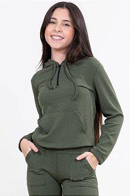 Blusão juvenil manga longa com capuz liso