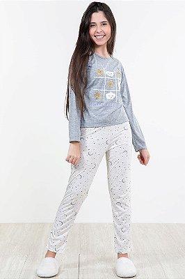 Pijama juvenil longo estampado estrela e luar