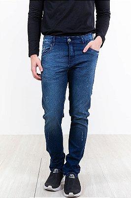 Calça jeans skinny com desgaste cofin rock