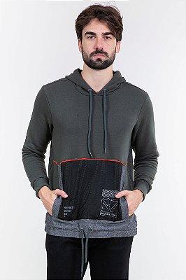 Blusão moletom com capuz detalhe em tela bgo