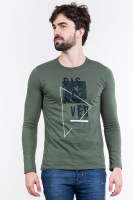 Camiseta manga longa lisa com estampa localizada malwee