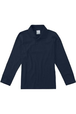 Camiseta manga longa gola polo lisa malwee