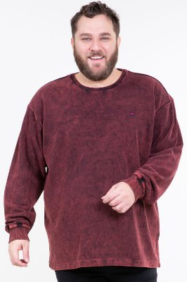 Blusão estonado canelado manga longa plus size