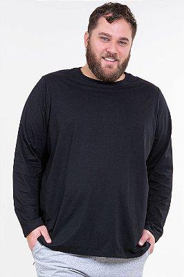 Camiseta manga longa lisa plus size malwee