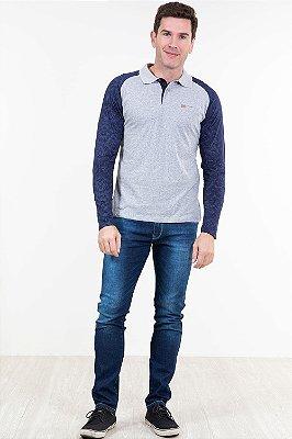 Camiseta manga longa gola polo
