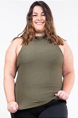 Blusa sem manga gola alta plus size