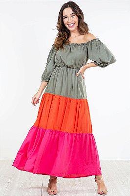 Vestido manga 3/4 tricolor com babado