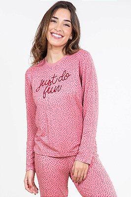 Pijama moletinho longo estampado com aplique malwee