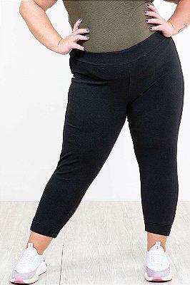 Calça jogging com bolso e frizo plus size