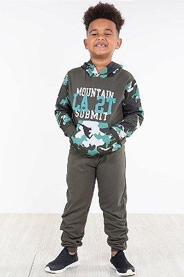 Conjunto moletom infantil blusão com capuz e calça