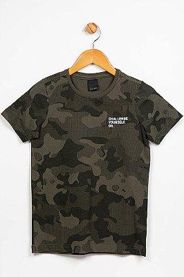 Camiseta juvenil manga curta camuflada colisão