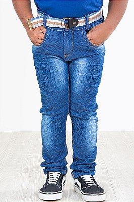 Calça jeans infantil skinny com cinto