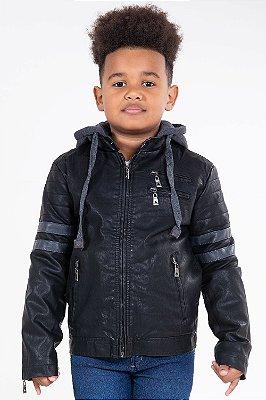 Jaqueta infantil forrada com capuz e zíper