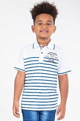 Camiseta infantil manga curta gola polo listrada mundi
