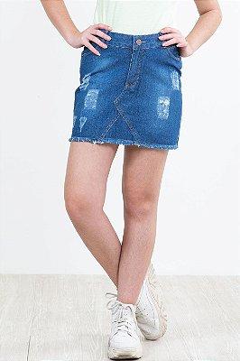 Saia jeans juvenil com desgaste e barra desfiada