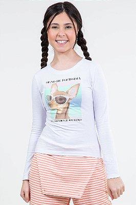 Blusa juvenil manga longa com estampa fakini