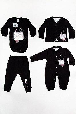 Kit bebê 4 peças macacão casaco culote e body patimini