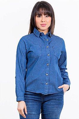 Camisa jeans manga longa com bolso