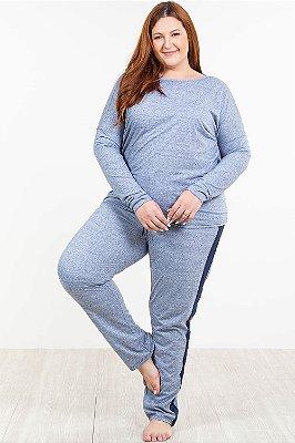 Pijama longo mescla plus size malwee