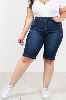 Bermuda jeans elastano plus size